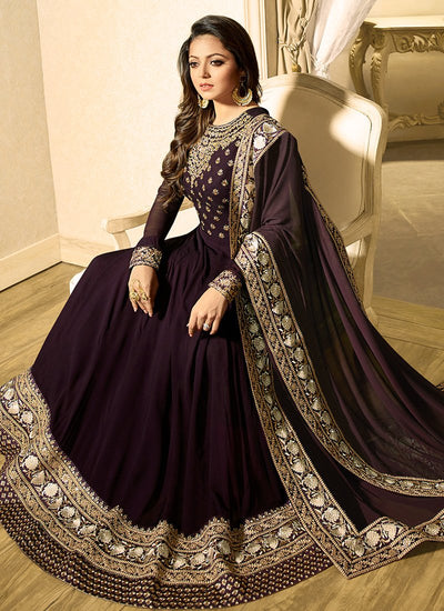 Georgette Abaya Style Suit in Wine Color