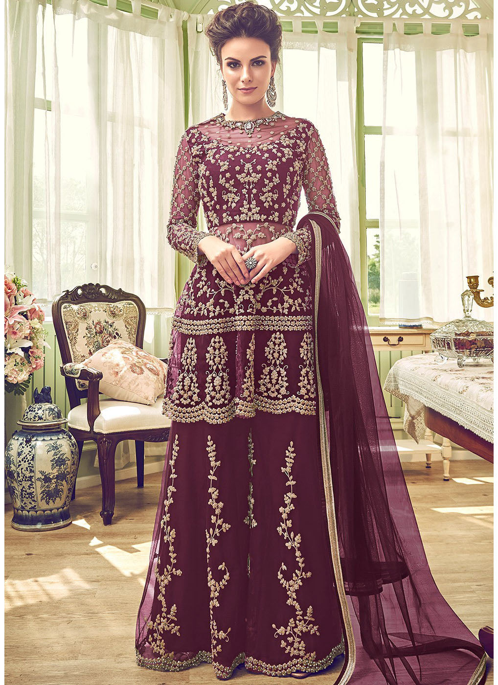 Purple Embroidered Wedding Sharara Suit