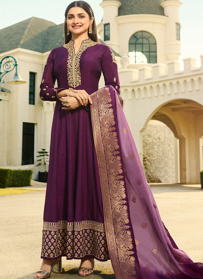 Embroidered Full Sleeve Abaya Style Kameez in Purple