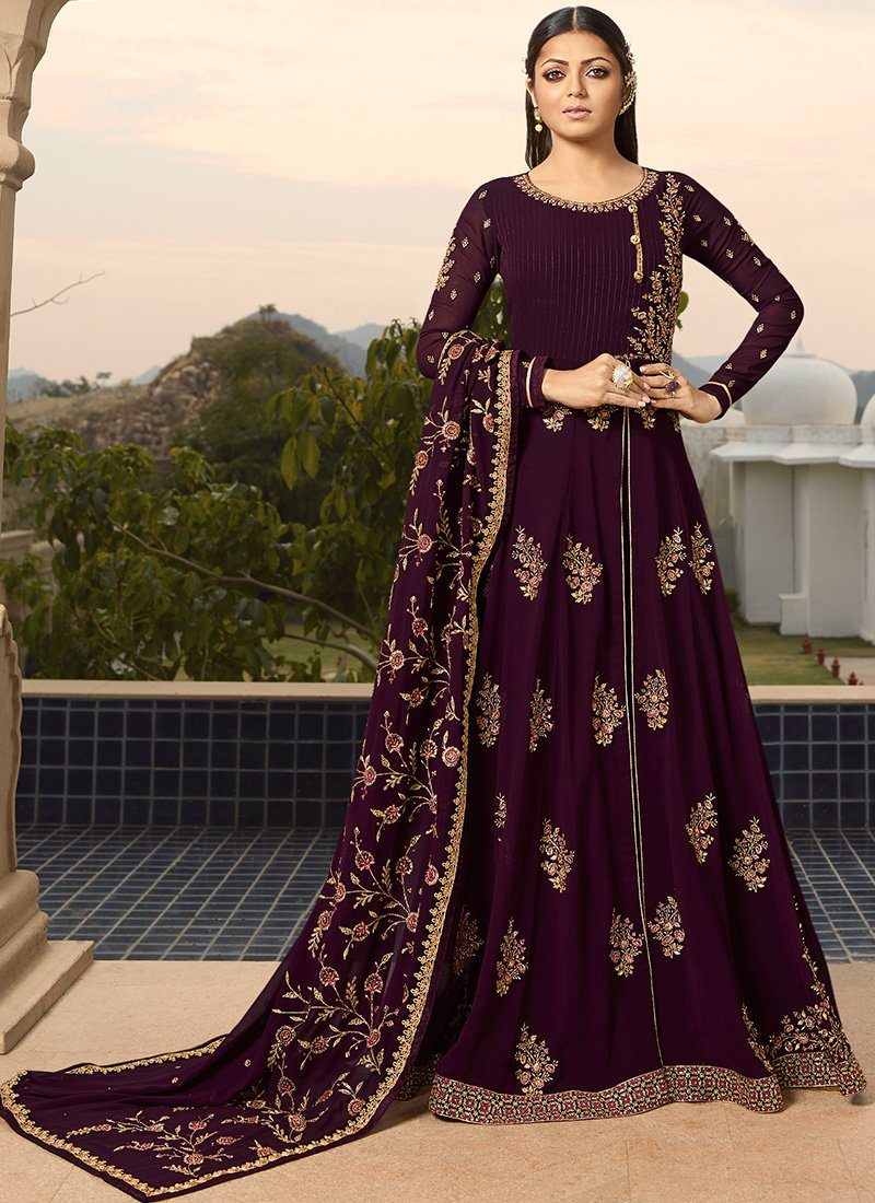 Embroidered Floor Length Abaya Style Anarkali in Purple