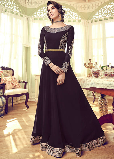 Embroidered Floor Length Abaya Style Suit in Purple
