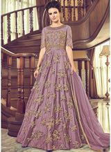 Embroidered Net Floor Length Anarkali in Purple