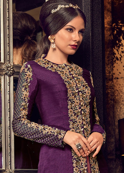 Purple Jacket Style Embroidered Pant Suit