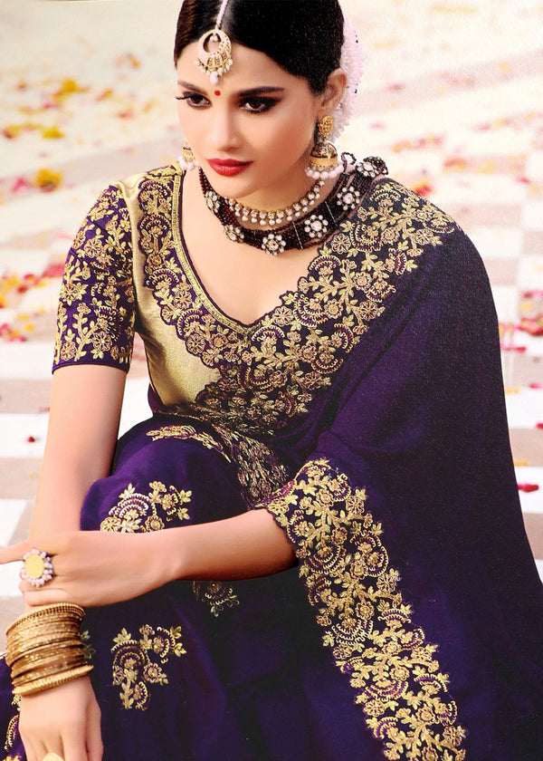 Dark Blue Embroidered Art Silk Saree