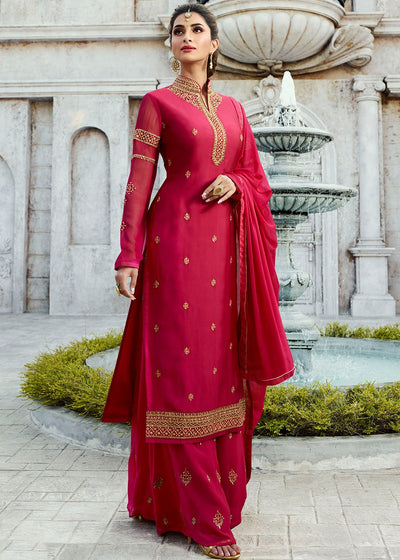 Pink Embroidered Georgette Palazzo Suit