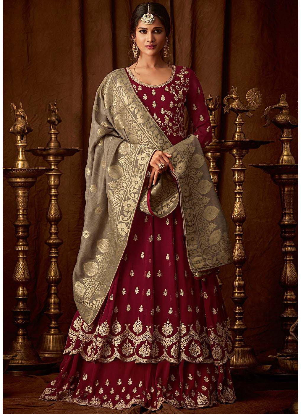 Maroon Georgette Embroidered Anarkali Lehenga