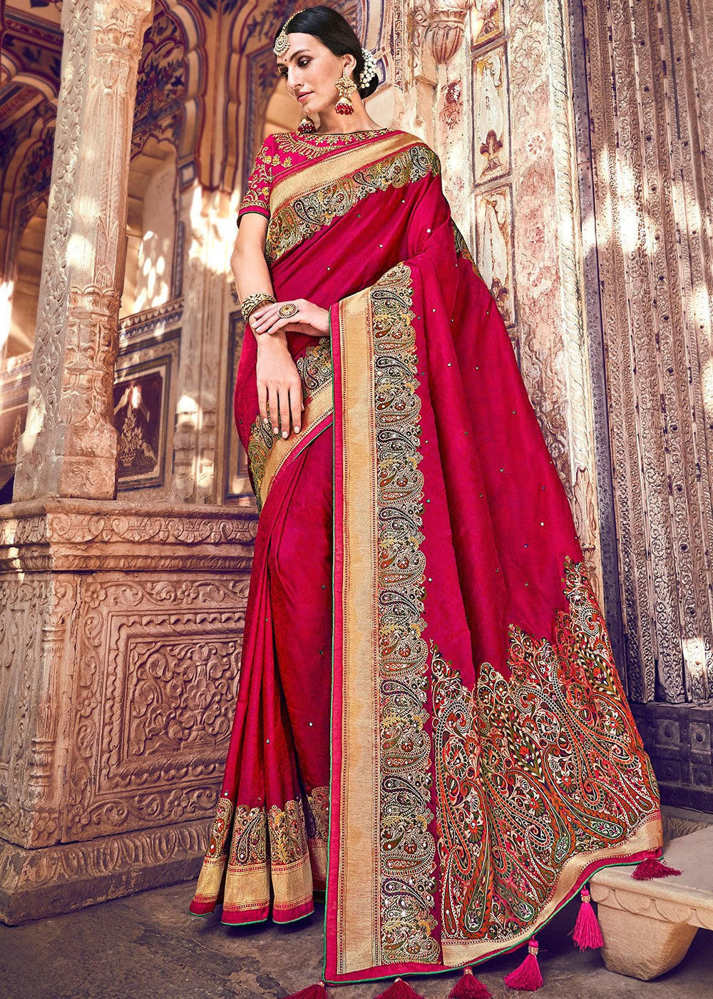 Woven Banarasi Silk Saree in Red