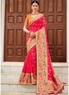 Red Banarasi Silk Woven Saree with Yellow Art Silk Blouse