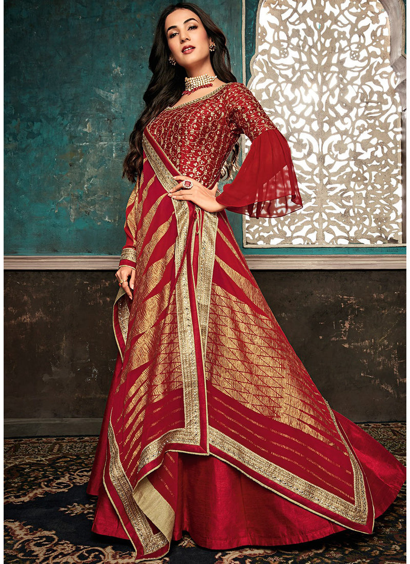 Red Bell Sleeved Abaya Style Kameez