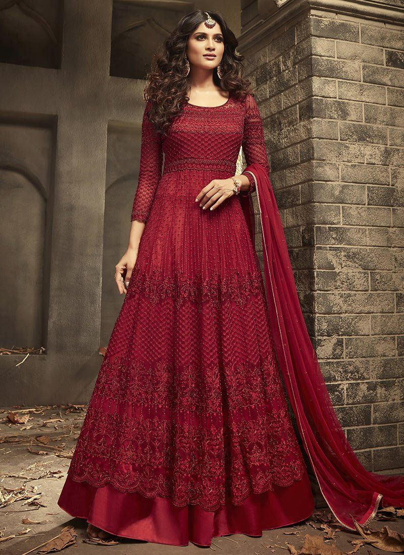 Embroidered Net Long Anarkali in Maroon