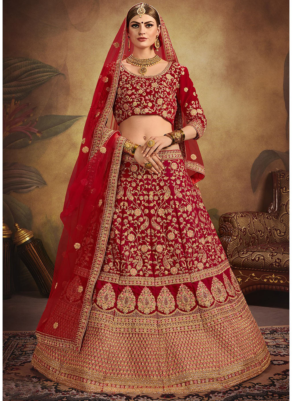 Quarter Sleeve Embroidered Velvet Bridal Lehenga Choli in Red