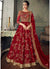 Boat Neck Lehenga Style Anarkali in Red