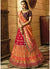 Woven Wedding Lehenga in Red Orange