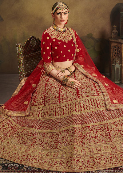 Embroidered Velvet Bridal Lehenga in Red