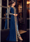 Royal Blue Jacket Style Embroidered Pant Suit