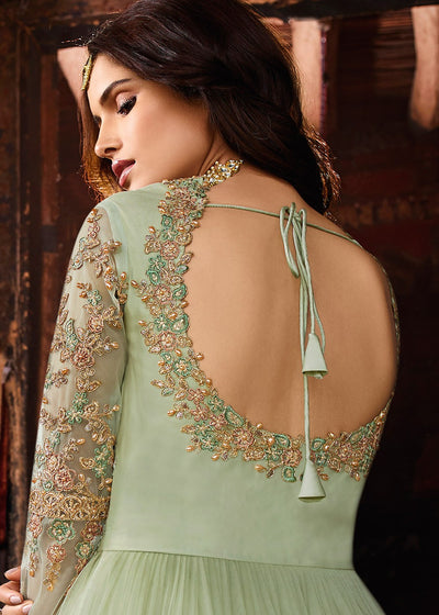 Green Embroidered Anarkali Suit