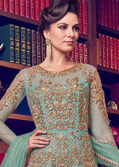 Embroidered Wedding Anarkali in Sea Green