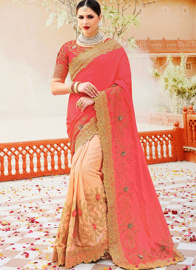 Half N Half Art Silk Saree in Pink and Beige