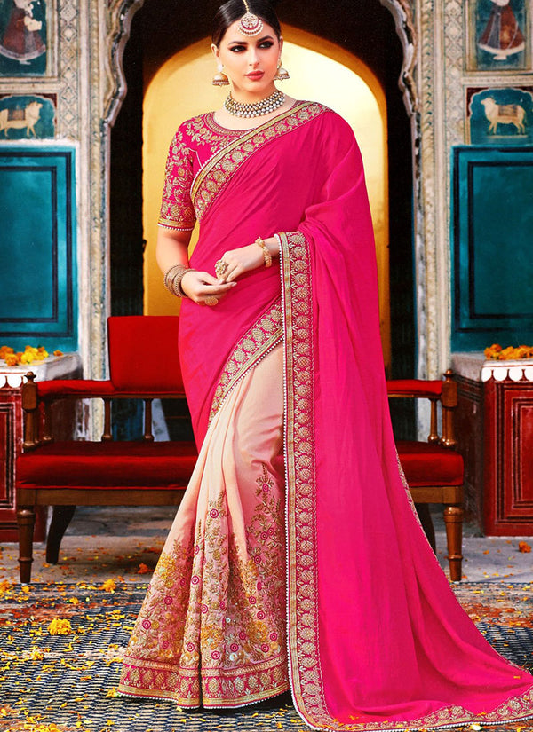 Pink Half N Half Art Silk Saree