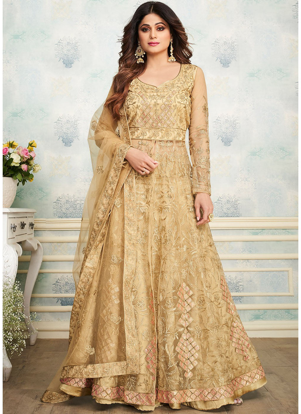 Net Art Silk Embroidered Lehenga Choli in Beige