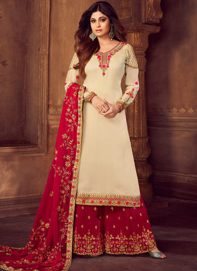 Georgette Embroidered Palazzo Kameez in Light Beige