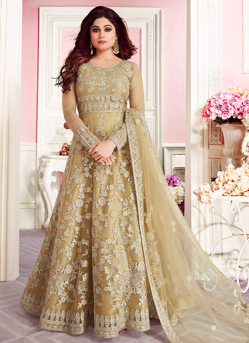 Beige Embroidered Floor Length Anarkali