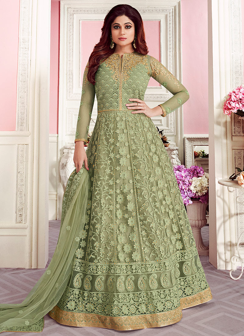 Green Embroidered Floor Length Anarkali