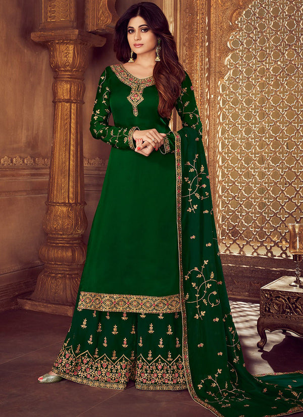 Green Embroidered Georgette Palazzo Kameez