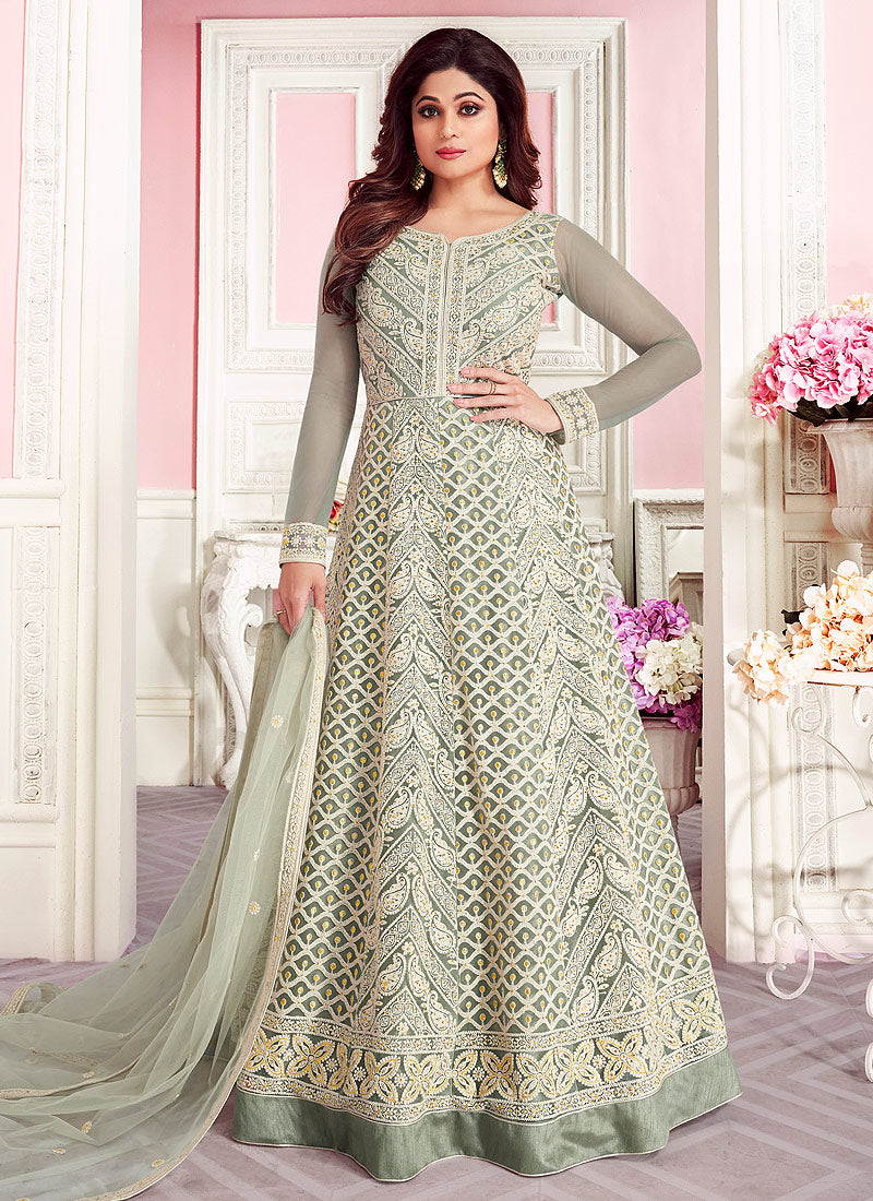 Grey Embroidered Floor Length Anarkali
