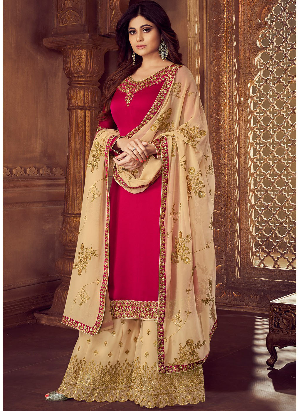 Maroon Georgette Embroidered Kameez with Beige Palazzo