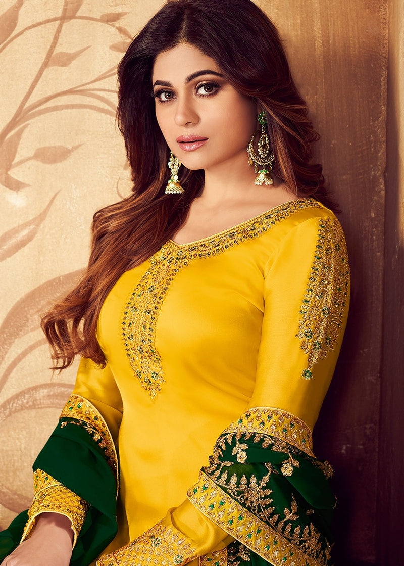Yellow Georgette Embroidered Palazzo Kameez