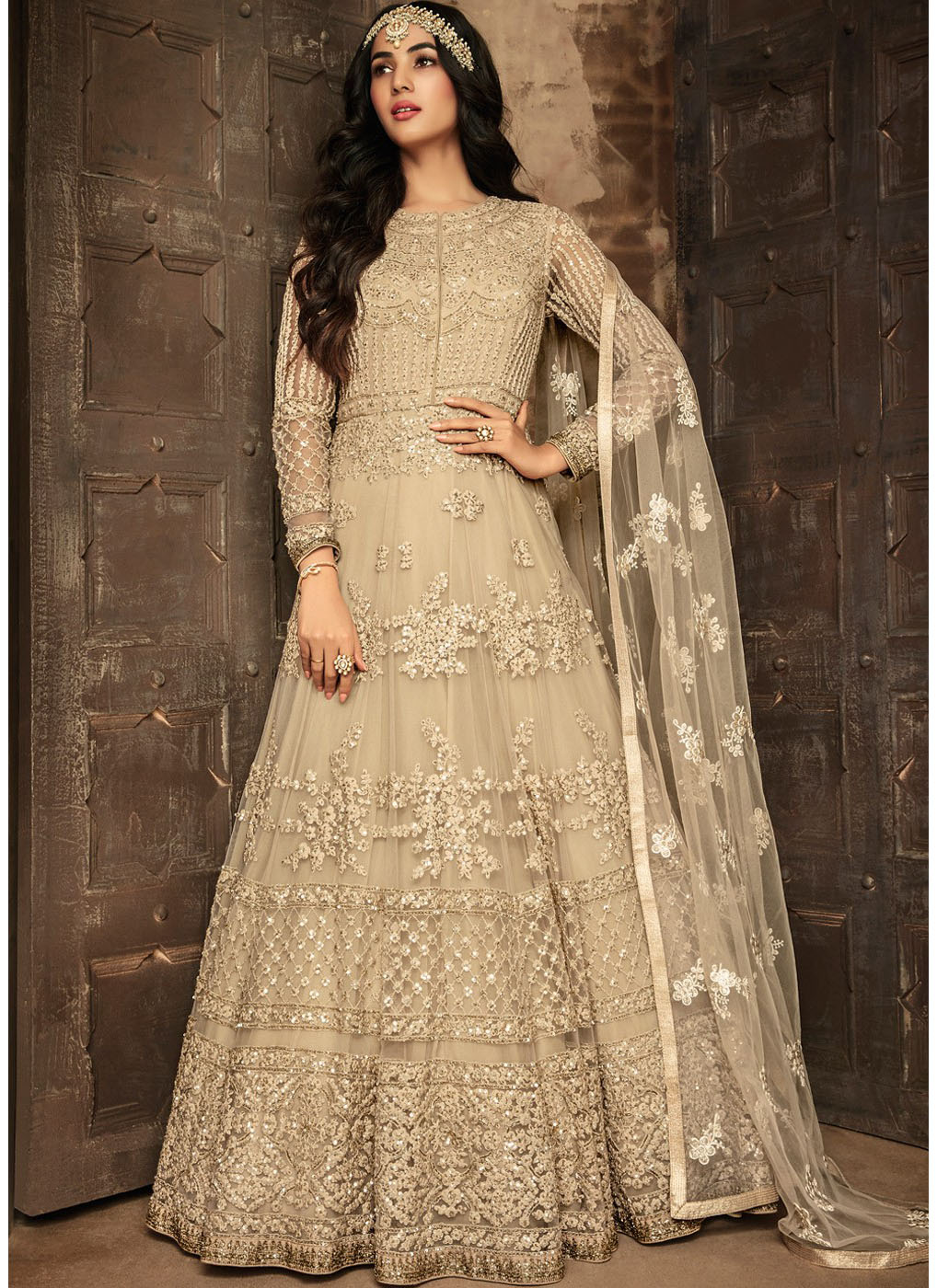 Embroidered Abaya Style Salwar Kameez in Beige