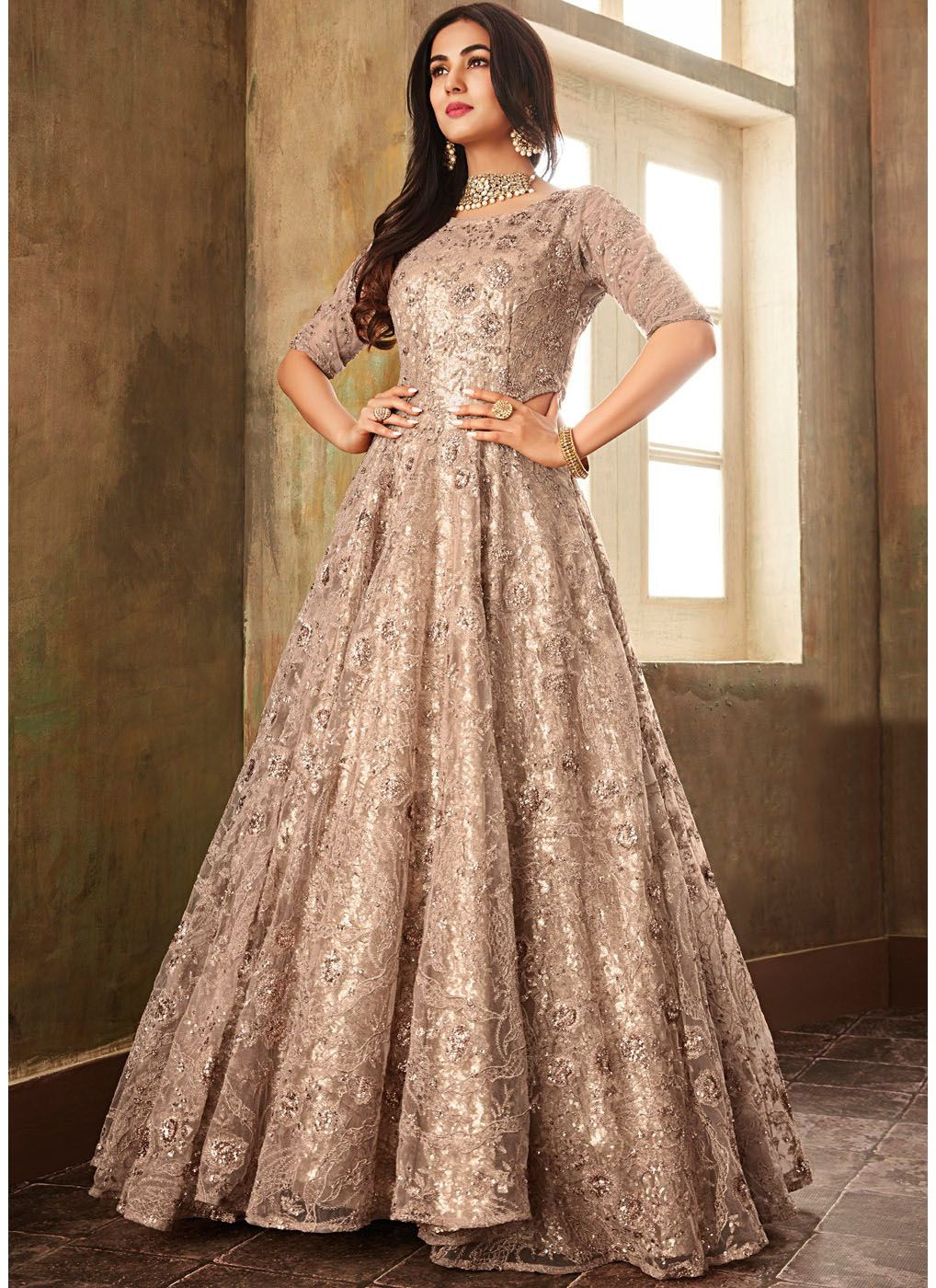 Floor Length Wedding Anarkali Suit in Beige
