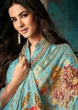 Embroidered Art Silk Sharara Suit in Turquoise