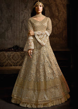 Bell Sleeved Twin Layered Anarkali in Golden Beige