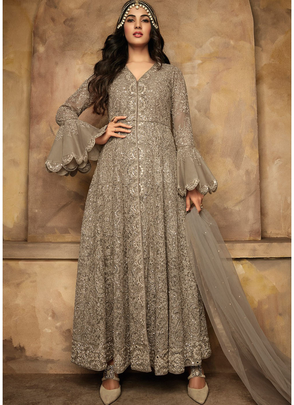 Grey Net Embroidered Bell Sleeved Anarkali Kameez