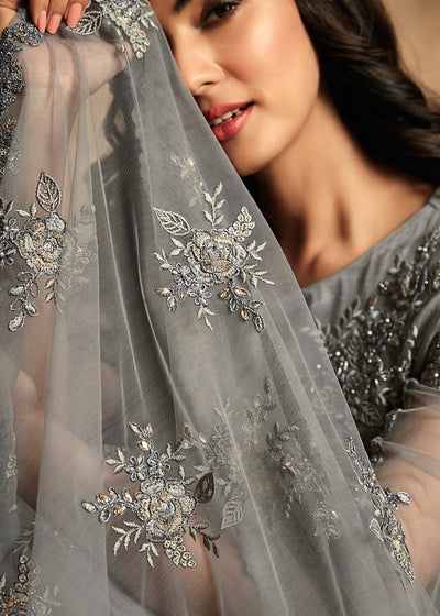 Grey Net Embroidered Anarkali Suit