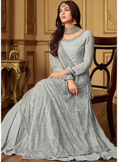 Georgette Floor Length Suit in Grey