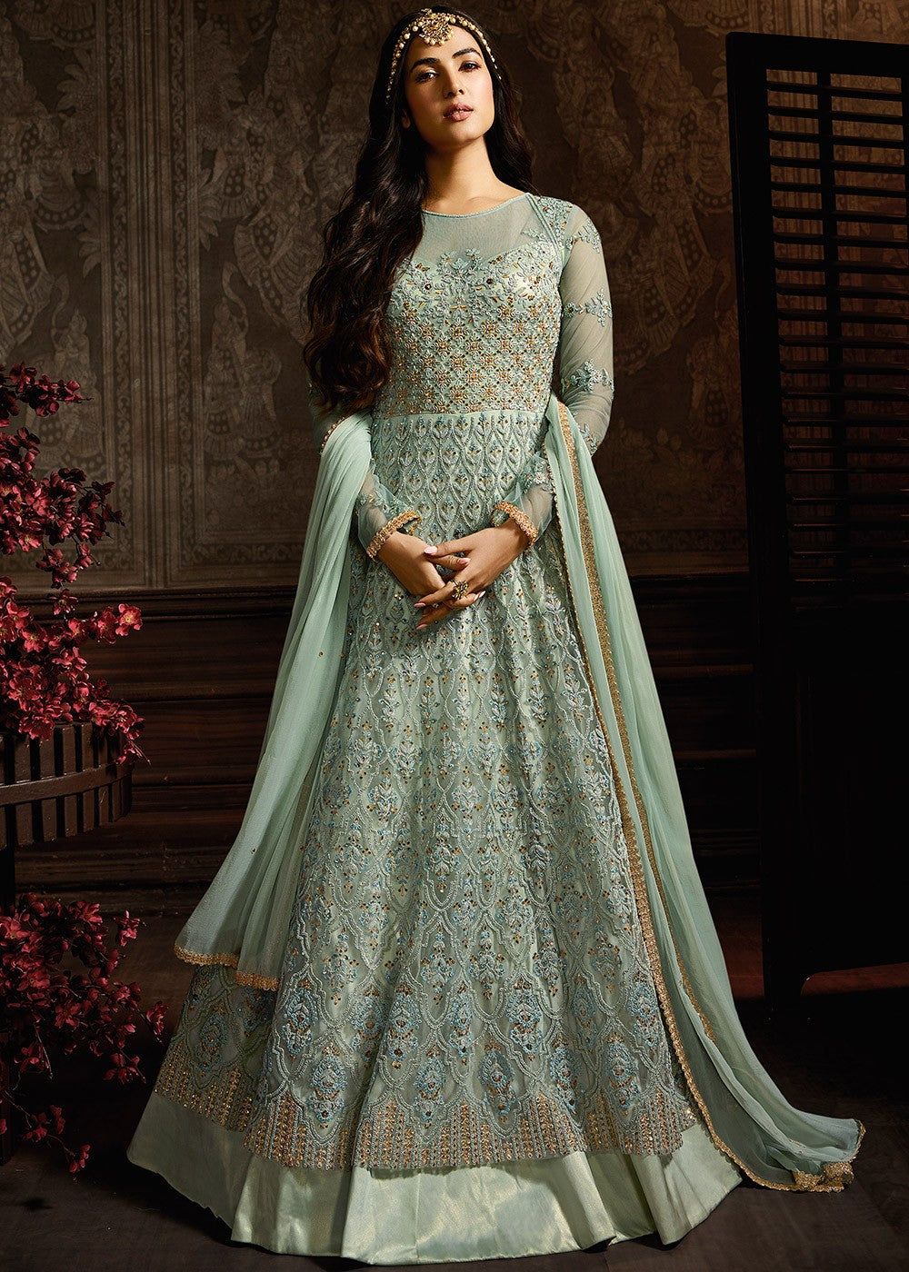 Twin Layered Anarkali Suit in Light Blue
