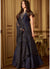 Banarasi Silk Floor Length Suit in Navy Blue