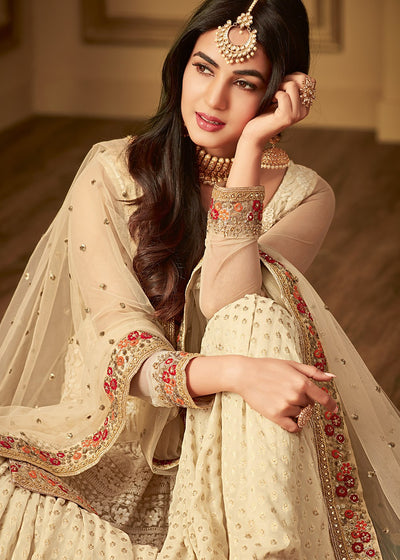 Off-White Embroidered Sharara Suit