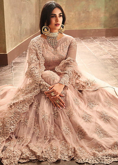 Wedding Abaya Style Suit in Pastel Peach