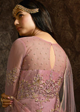 Pink Net Embroidered Abaya Style Suit