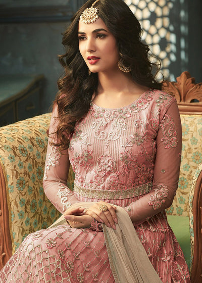 Pink Embroidered Anarkali Salwar Kameez