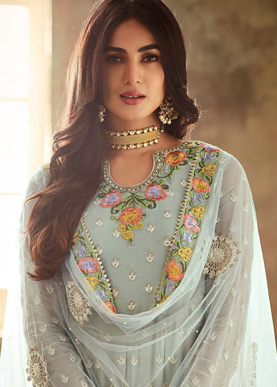 Embroidered Georgette Sharara Suit in Blue
