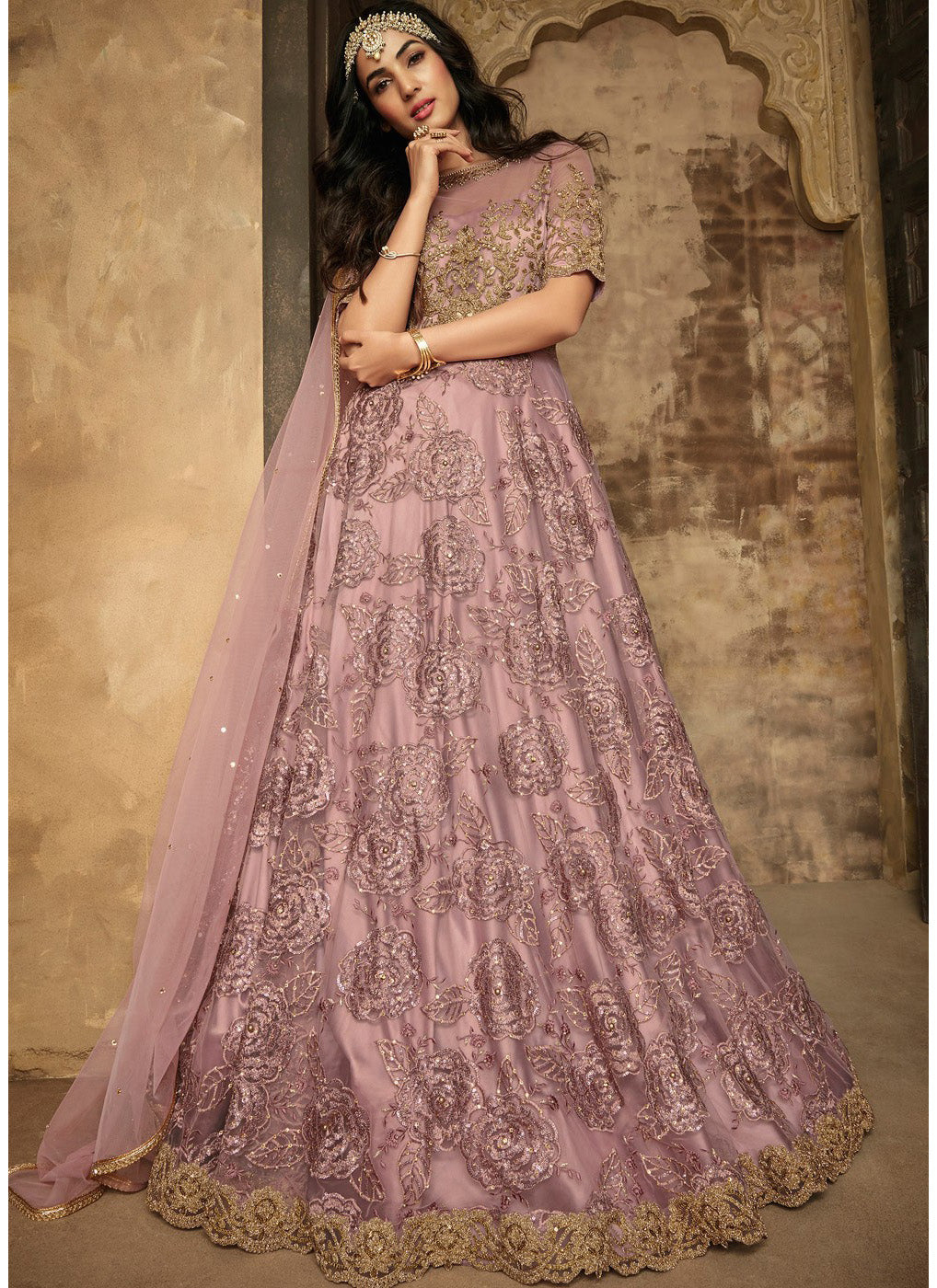 Purple Net Embroidered Anarkali Suit