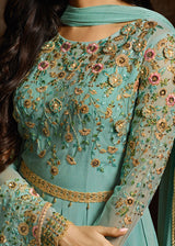 Floor Length Georgette Anarkali Suit in Turquoise