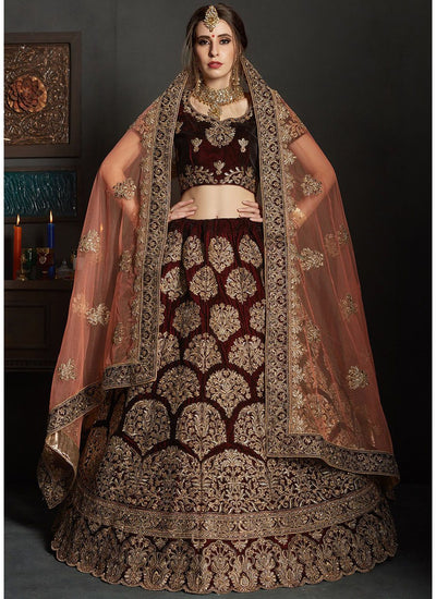 Embroidered Velvet Lehenga with Short Sleeve Choli