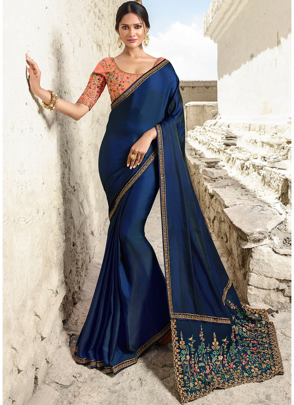 Blue Embroidered Art Silk Saree