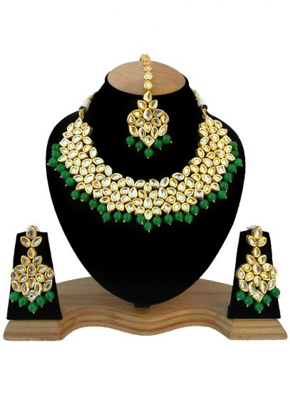 Gold Plated Necklace with Kundan And Green Beads